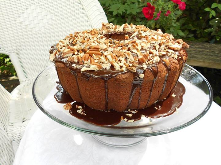 "My Southern Chocolate Pound Cake with Chocolate Pecan Icing, beautifully made and handsomely photographed by my friend, Linda Rogers Weiss, author of ""Seasoned in the Kitchen"". Recipe below."
