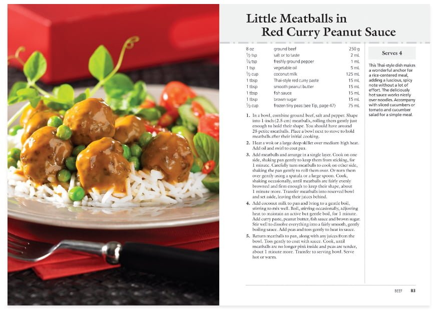 Little Meatballs in Red Curry Peanut Sauce Sample Cookbook Recipe