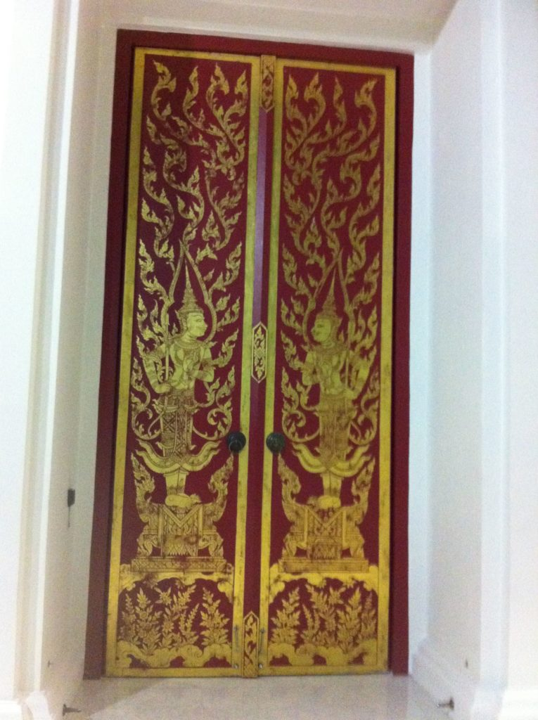A gorgeous Thai door adorned with traditional Thai painting. & Green Papaya Salad from \u201cSimply Vegetarian Thai Cooking\u201d Pezcame.Com