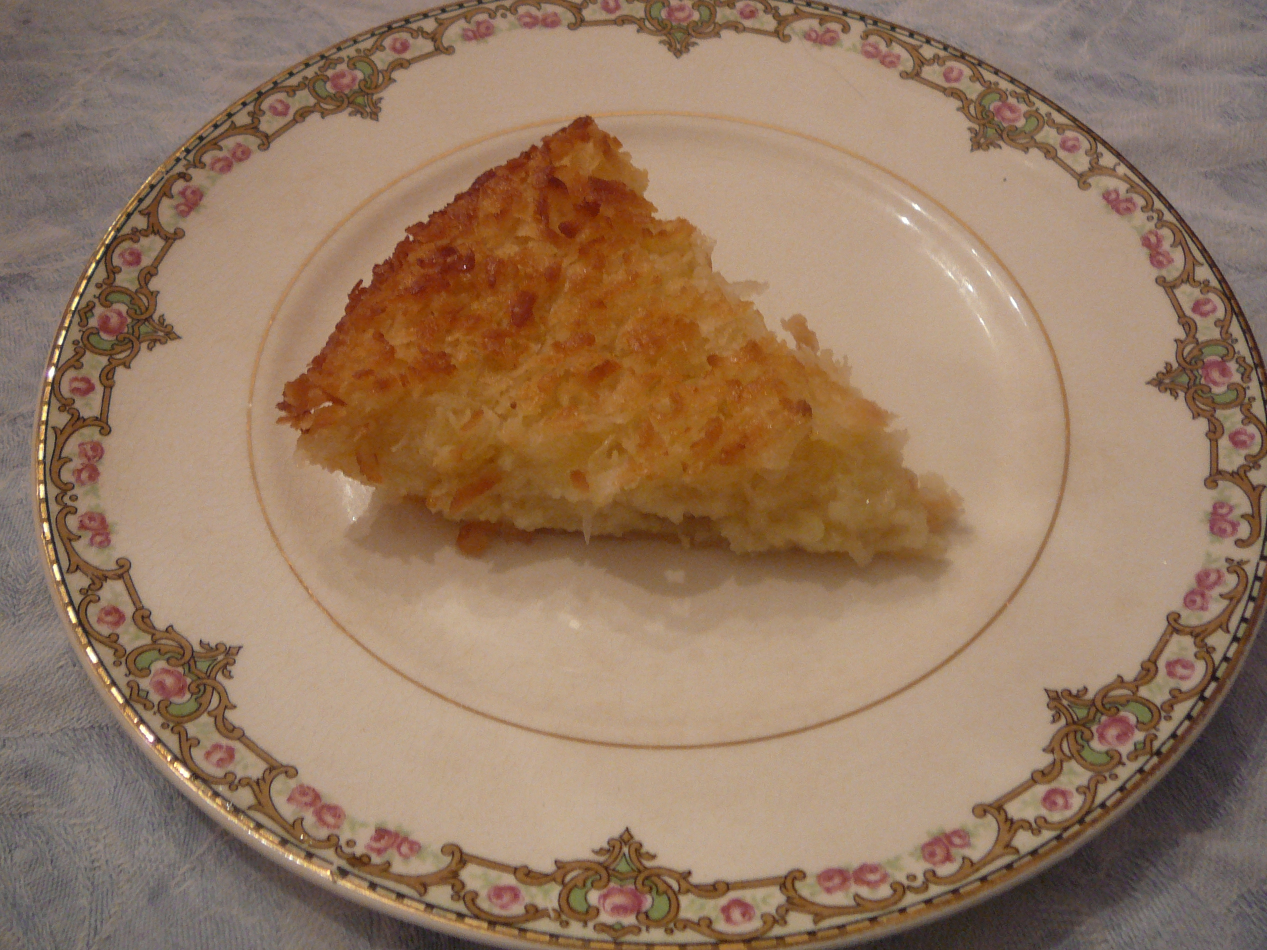 coconut pie on a plate with no crust