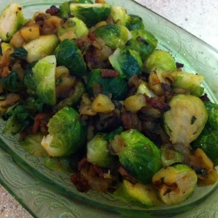 Virginia Willis's Sautéed Brussels Sprouts With Apples and Bacon
