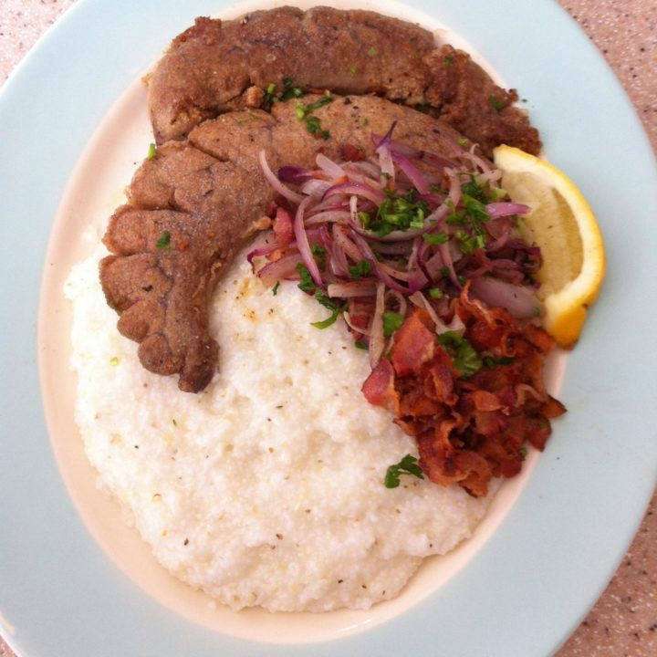 Shad Roe with Red Onion, Bacon, and Grits