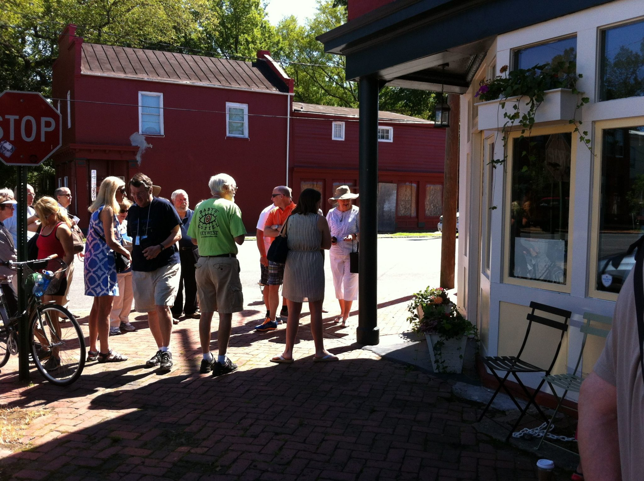 Bakery walking tour group exploring Richmond Virginia on a sunny summer morning