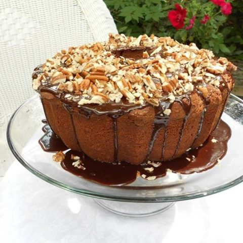 Southern Chocolate Pound Cake with Chocolate Pecan Glaze
