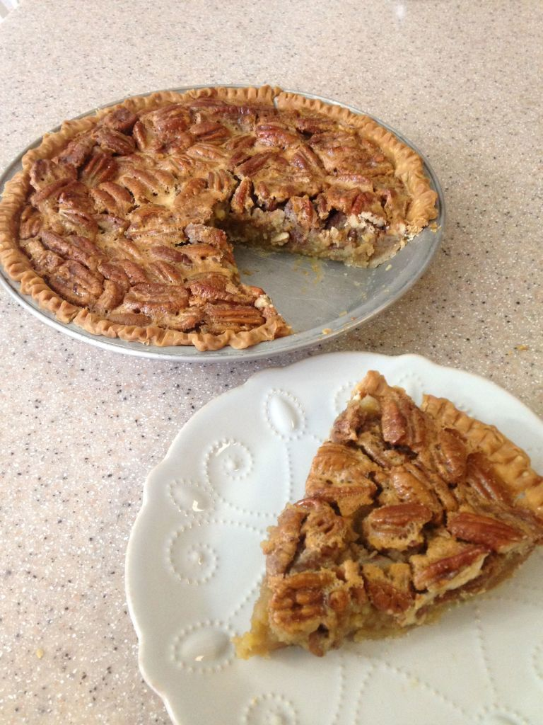 Ronni Lundy's Sorghum Pecan Pie cut and whole