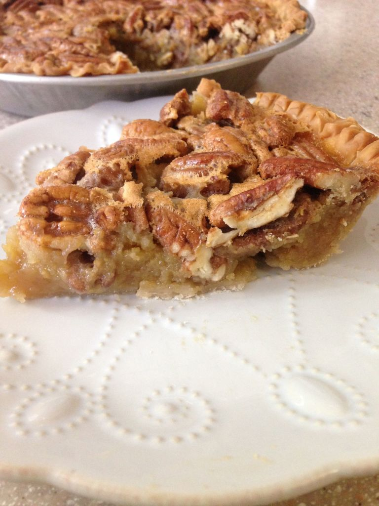 Ronni Lundy's Sorghum Pecan Pie piece closeup