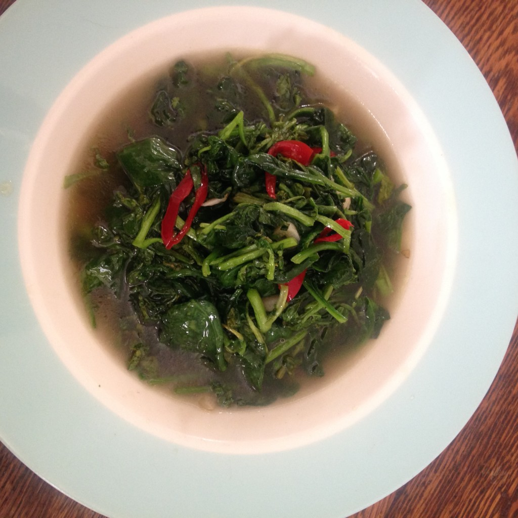 Nong's Stir-Fried Greens, pad pak bung, which I made with watercress and spinach.