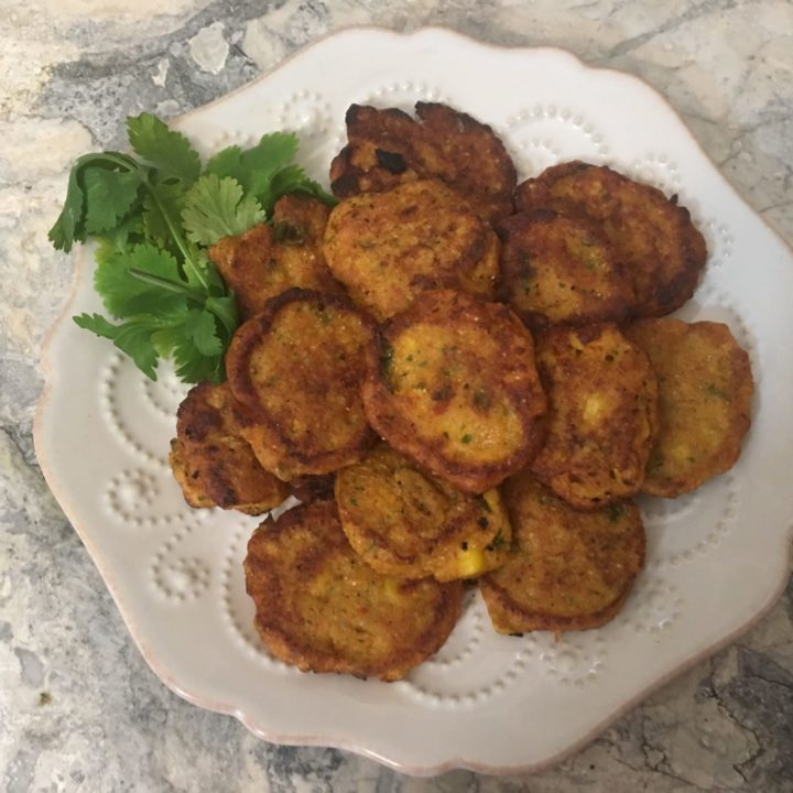 Corn Fritters with Cilantro and Red Curry