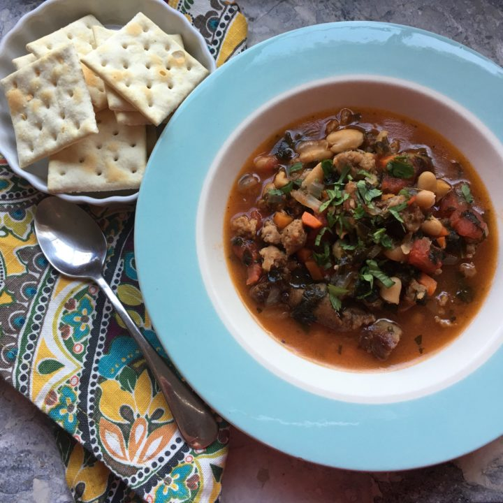 Italian Sausage Soup with White Beans and Collard greens