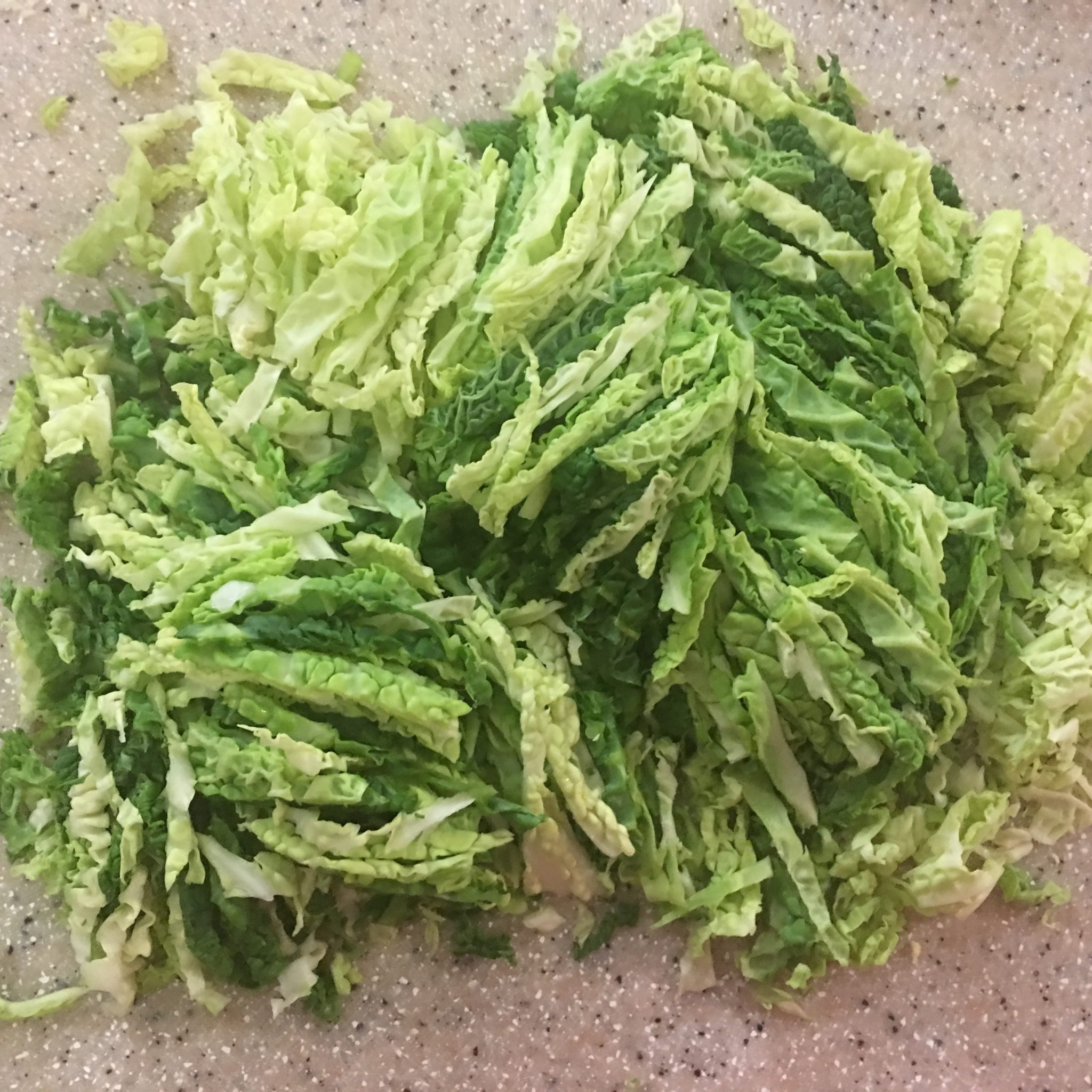 Shredded up strips of fresh green savoy cabbage, with its pebbly-textured leaves in shades from almost yellow-green paleness to deep robust emerald green