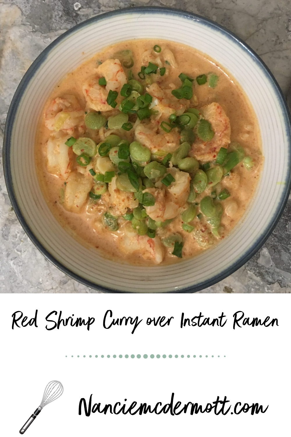 Red Shrimp Curry over Instant Ramen