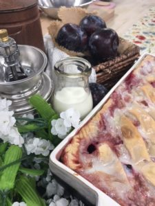 Fresh Plum Sonker with Vanilla Milk Dip
