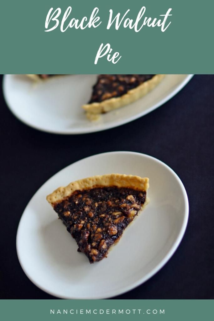 pinterest image of black walnut pie