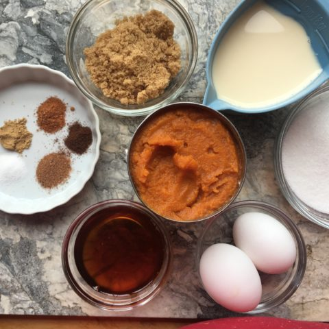 Mise En Place: Ingredients for Pumpkin Pie Minis with spices, eggs, syrup, evapored mik