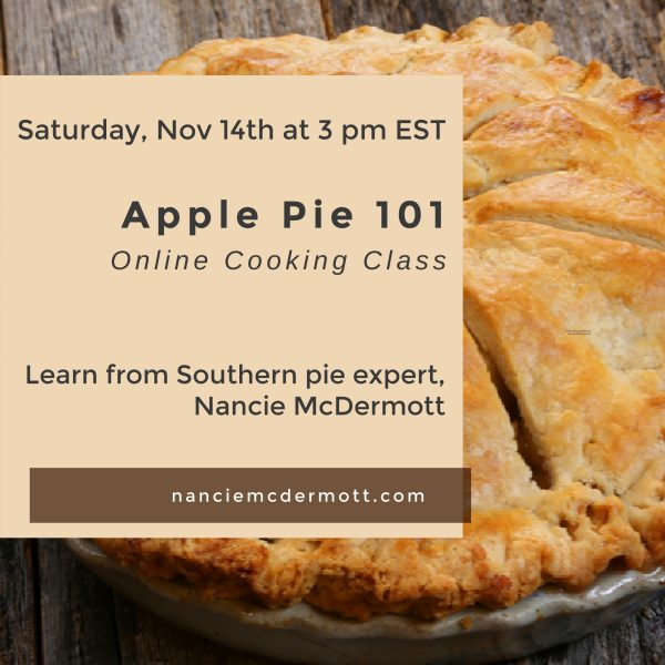 Apple Pie 101 Class flyer with pie on wooden board and class details 11 14 3pm teachers name displayed